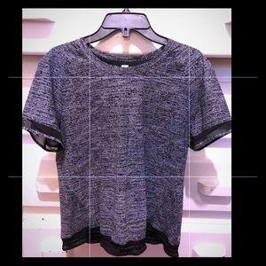 Lululemon SS Black Print Top/Blouse Size 6